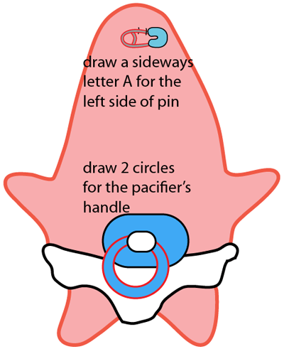 Step 5 : Drawing Baby Patrick Star from SpongeBob SquarePants Easy Steps Lesson
