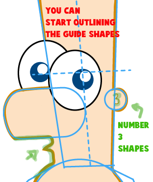 Step 5 : Drawing Baby Ferb from Phineas and Ferb Easy Steps Lesson