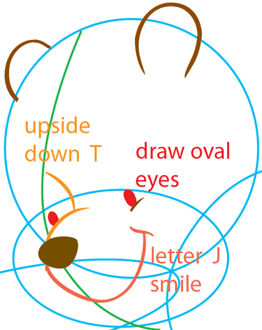 Step 5 : Drawing Pooh the Bear from Winnie the Pooh Easy Steps Lesson
