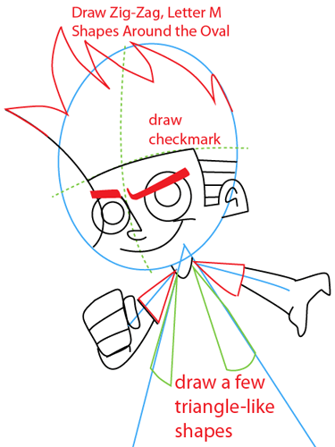 Step 5 : Drawing Johnny Test from Johnny Test Easy Steps Lesson