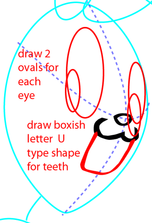 Step 5 : Drawing Bugs Bunny from Looney Tunes Easy Steps Lesson