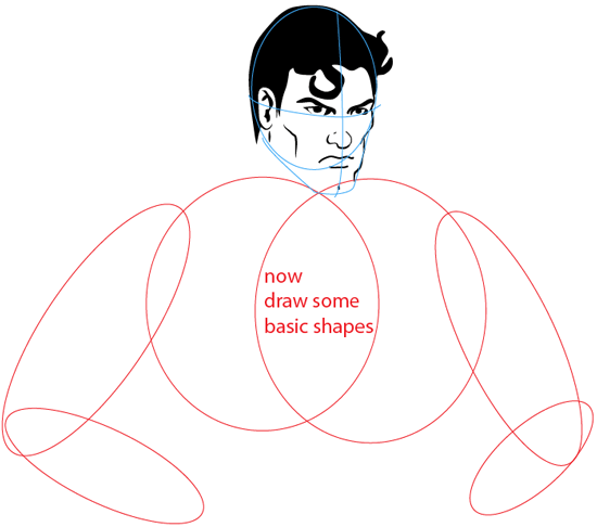 Step 5 : Drawing Superman Easy Steps Lesson