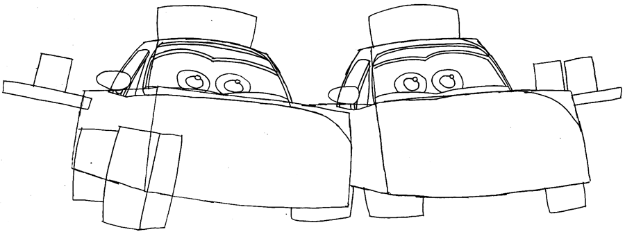 Step 5 : Drawing Mia and Tia from Pixar's Cars Easy Steps Lesson