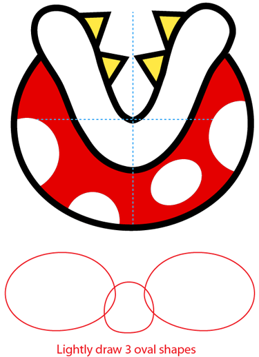 Step 5 : Drawing a Pirahna Plant from Nintendo's Super Mario Bros. Easy Steps Lesson