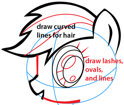 Step 5 : Drawing Rainbow Dash from My Little Pony Easy Steps Lesson