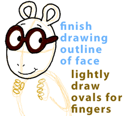 Step 6 : Drawing Arthur from PBS's Arthur Easy Steps Lesson