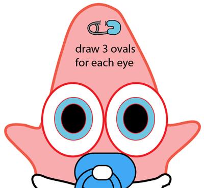 Step 6 : Drawing Baby Patrick Star from SpongeBob SquarePants Easy Steps Lesson