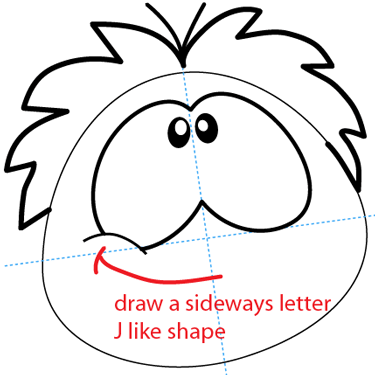 Step 6 : Drawing Red Puffle from Club Penguin Easy Steps Lesson
