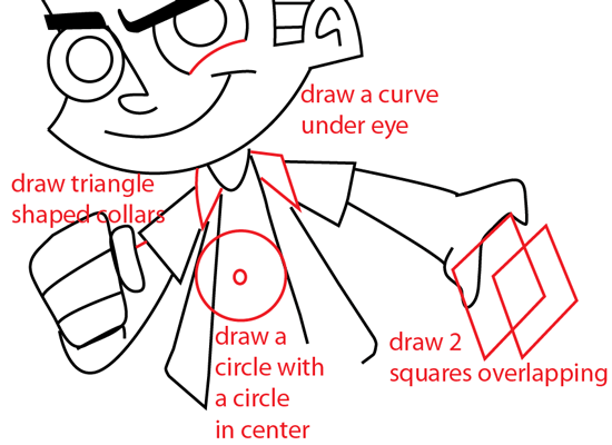 Step 6 : Drawing Johnny Test from Johnny Test Easy Steps Lesson
