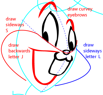 Step 6 : Drawing Bugs Bunny from Looney Tunes Easy Steps Lesson