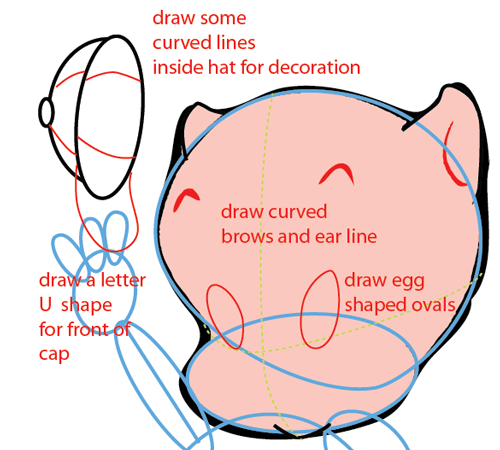 Step 6 : Drawing Porky Pig from Looney Tunes Easy Steps Lesson