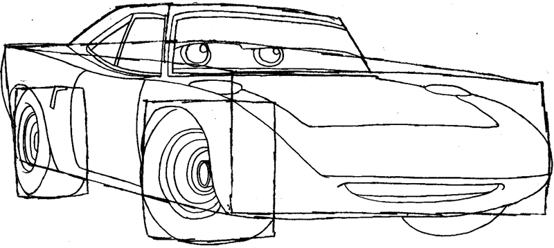 Step 6 : Drawing King from Pixar's Cars Easy Steps Lesson