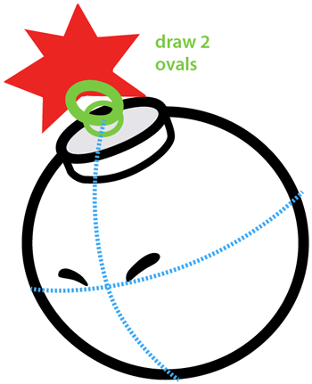 Step 6 : Drawing Bombette from Nintendo's Super Mario Bros. Easy Steps Lesson