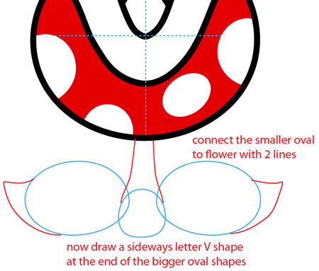 Step 6 : Drawing a Pirahna Plant from Nintendo's Super Mario Bros. Easy Steps Lesson