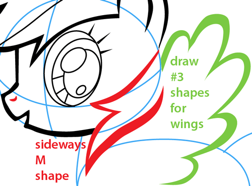 Step 6 : Drawing Rainbow Dash from My Little Pony Easy Steps Lesson