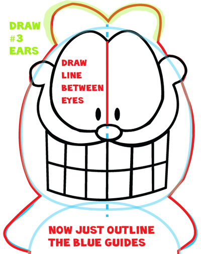 Step 6 : Drawing Garfield from The Garfield Show Easy Steps Lesson