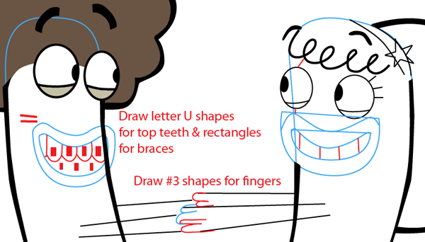 Step 7 : Drawing Oscar and Bea from Disney's Fish Hooks Easy Steps Lesson