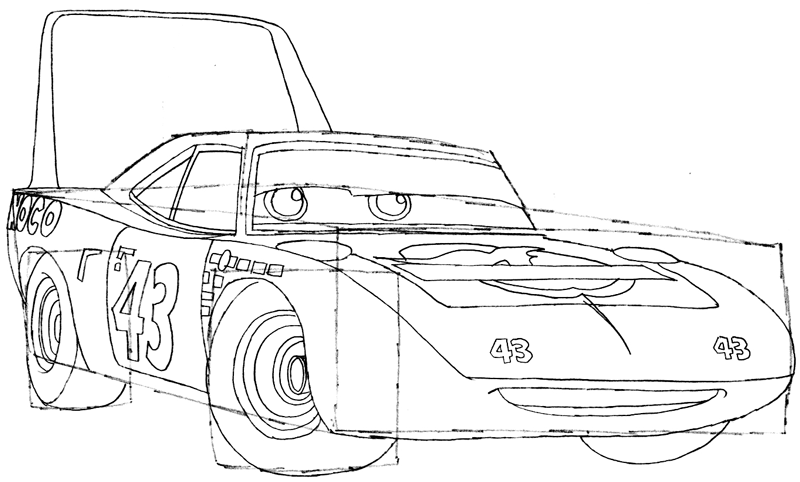 Step 7 : Drawing King from Pixar's Cars Easy Steps Lesson