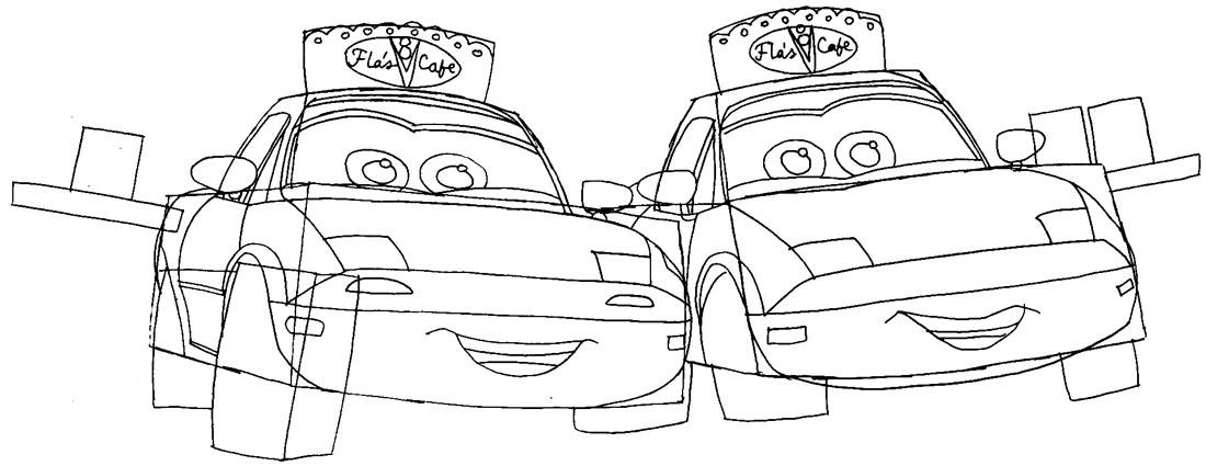 Step 7 : Drawing Mia and Tia from Pixar's Cars Easy Steps Lesson