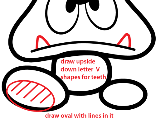 Step 7 : Drawing Goomba from Nintendo's Super Mario Bros. Easy Steps Lesson