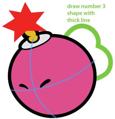 Step 7 : Drawing Bombette from Nintendo's Super Mario Bros. Easy Steps Lesson