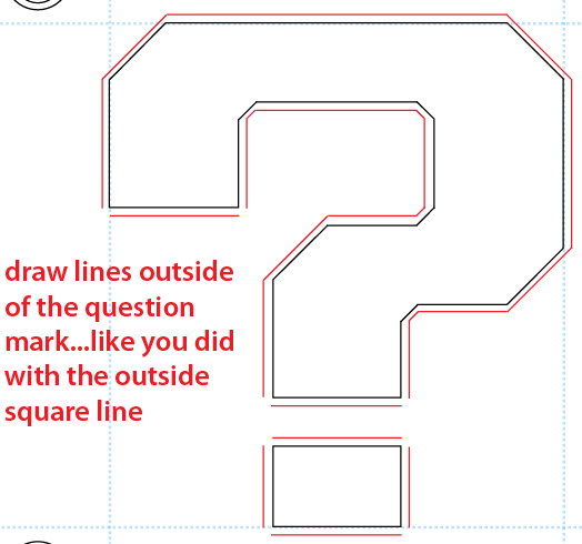 Step 7 : Drawing a Question Mark Box from Nintendo's Super Mario Bros. Easy Steps Lesson