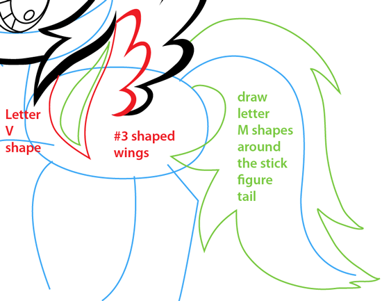 Step 7 : Drawing Rainbow Dash from My Little Pony Easy Steps Lesson