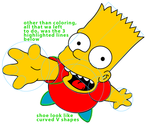 Step 8 : Drawing Bart Simpson Jumping from The Simpsons Easy Steps Lesson