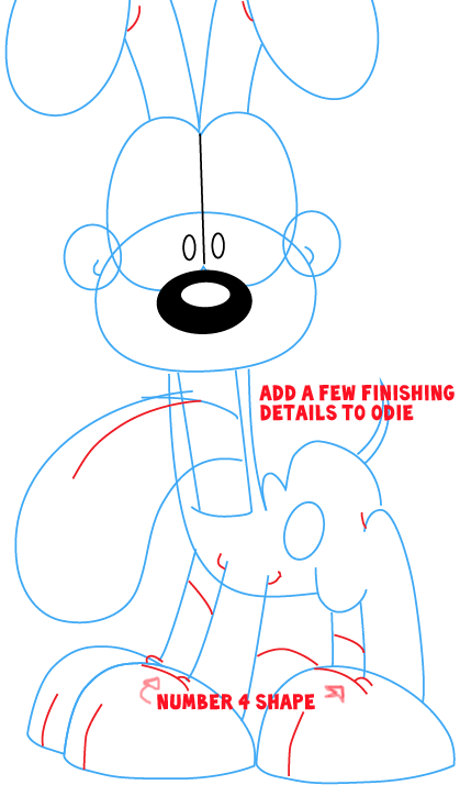 Step 8 : Drawing Odie from The Garfield Show Easy Steps Lesson