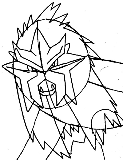 Step 8 : Drawing Entei from Pokemon Easy Steps Lesson