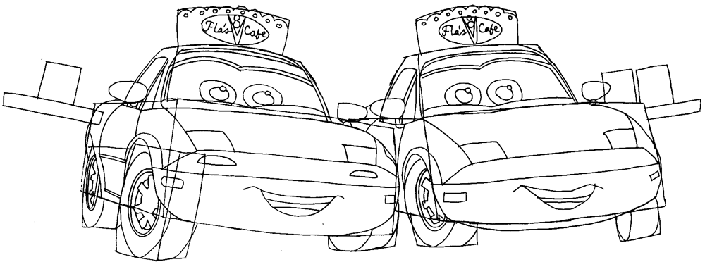 Step 8 : Drawing Mia and Tia from Pixar's Cars Easy Steps Lesson