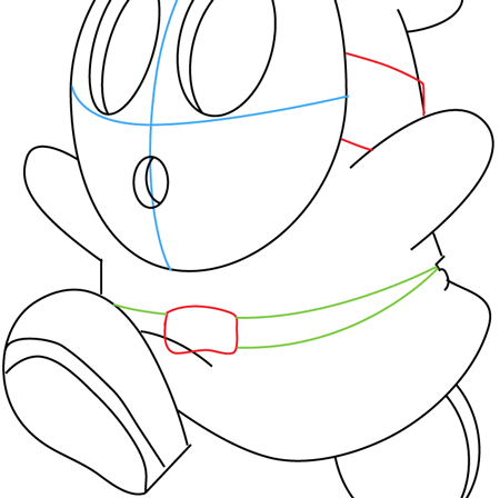 Step 8 : Drawing Shy Guy from Nintendo's Mario Kart Racing Easy Steps Lesson