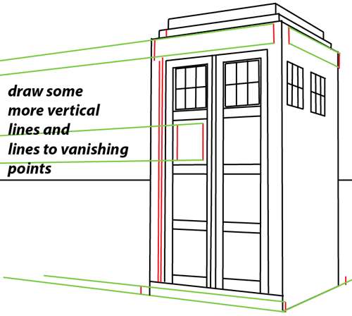 Step 8 : Drawing TARDIS from Doctor Who Easy Steps Lesson