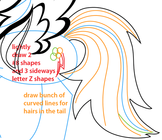 Step 8 : Drawing Rainbow Dash from My Little Pony Easy Steps Lesson