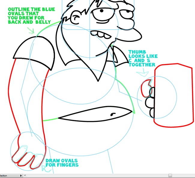 Step 8 : Drawing Barney Gumble from The Simpsons Easy Steps Lesson