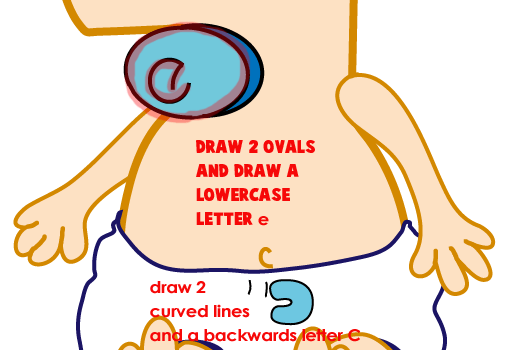 Step 9 : Drawing Baby Ferb from Phineas and Ferb Easy Steps Lesson