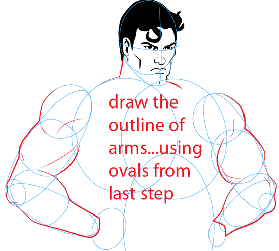 Step 9 : Drawing Superman Easy Steps Lesson