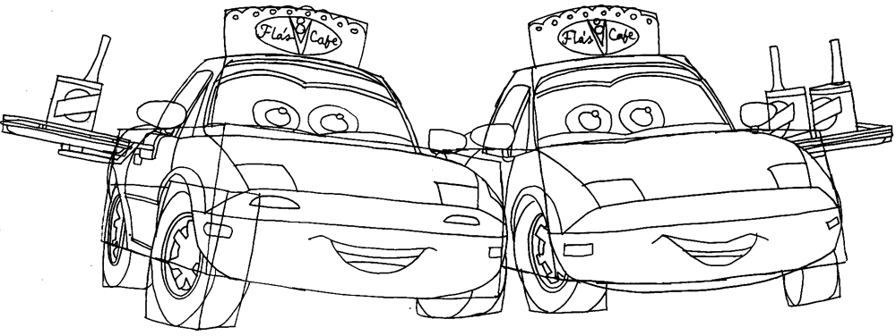 Step 9 : Drawing Mia and Tia from Pixar's Cars Easy Steps Lesson