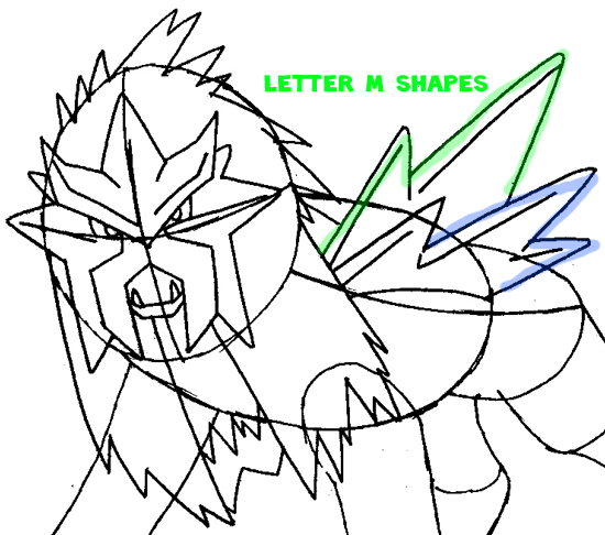 Step 9 : Drawing Entei from Pokemon Easy Steps Lesson