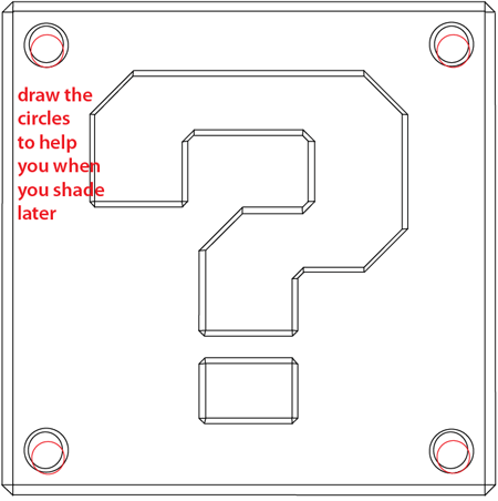 Step 9 : Drawing a Question Mark Box from Nintendo's Super Mario Bros. Easy Steps Lesson
