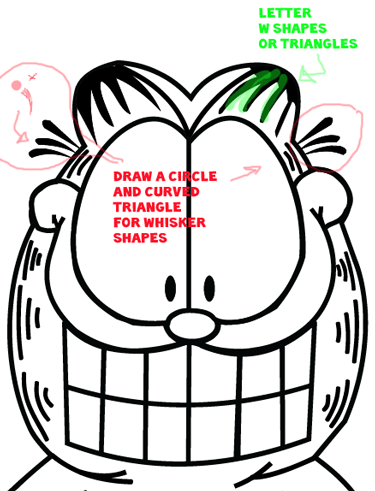 Step 9 : Drawing Garfield from The Garfield Show Easy Steps Lesson