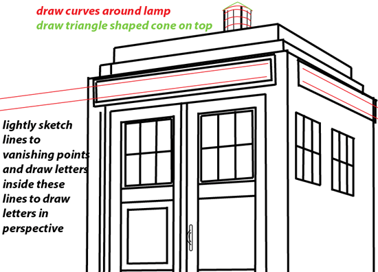 Step 10 : Drawing TARDIS from Doctor Who Easy Steps Lesson