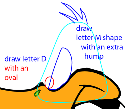 Step 11 : Drawing Daffy Duck from Looney Tunes Easy Steps Lesson