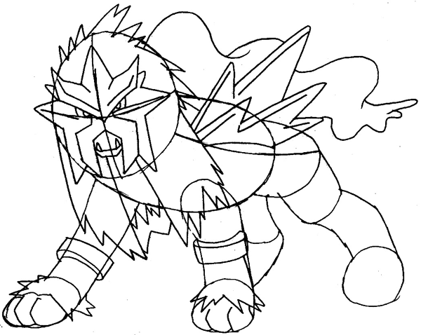 Step 11 : Drawing Entei from Pokemon Easy Steps Lesson