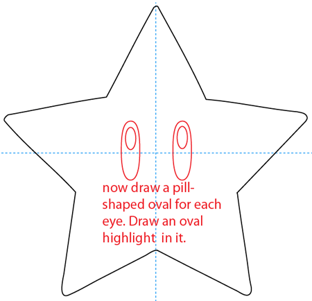 Step 11 : Drawing the Star from Nintendo's Super Mario Bros. Easy Steps Lesson