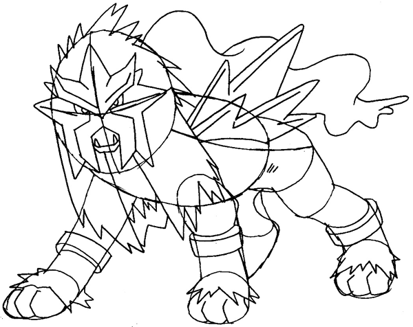 Step 12 : Drawing Entei from Pokemon Easy Steps Lesson