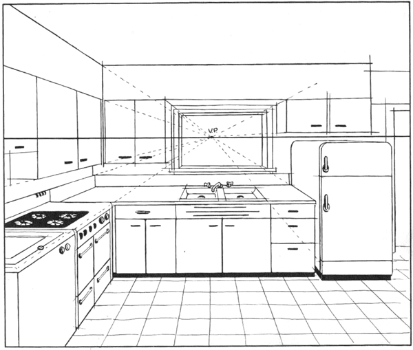 Kitchen Interior Design constructed in one-point perspective