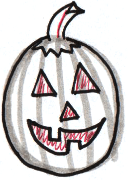 Step 7 : Drawing Jack O'Lanterns Easy Steps Lesson