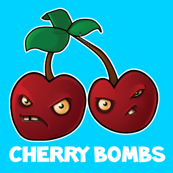 How to draw Cherry Bombs from Plants vs Zombies with easy step by step drawing tutorial