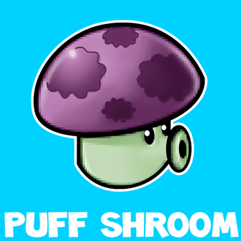 How to draw Puff-shroom from Plants vs Zombies with easy step by step drawing tutorial